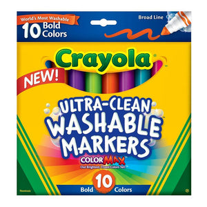Crayola Ultra Clean Washable Markers in  Bold Colours - 10 Pack