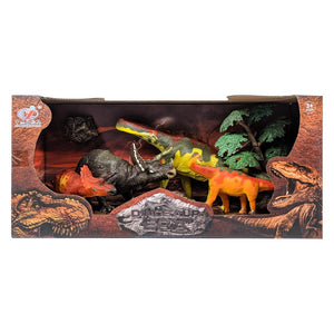 Dinosaur Figure Set with Brachiosaurus and Triceratops - 4 Piece Set