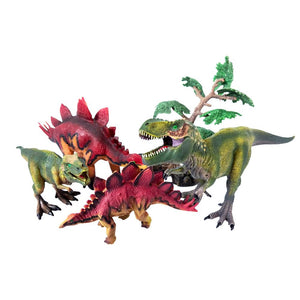 Dinosaur Figure Set with Stegosaurus and T-Rex - 4 Piece Set
