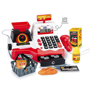 Red Electronic Kids Toy Cash Register with Scanner