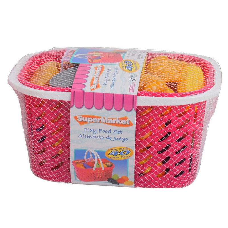 Gigo Toy Gigo 40-Piece Plastic Food Set in Pink Basket - Buy Online