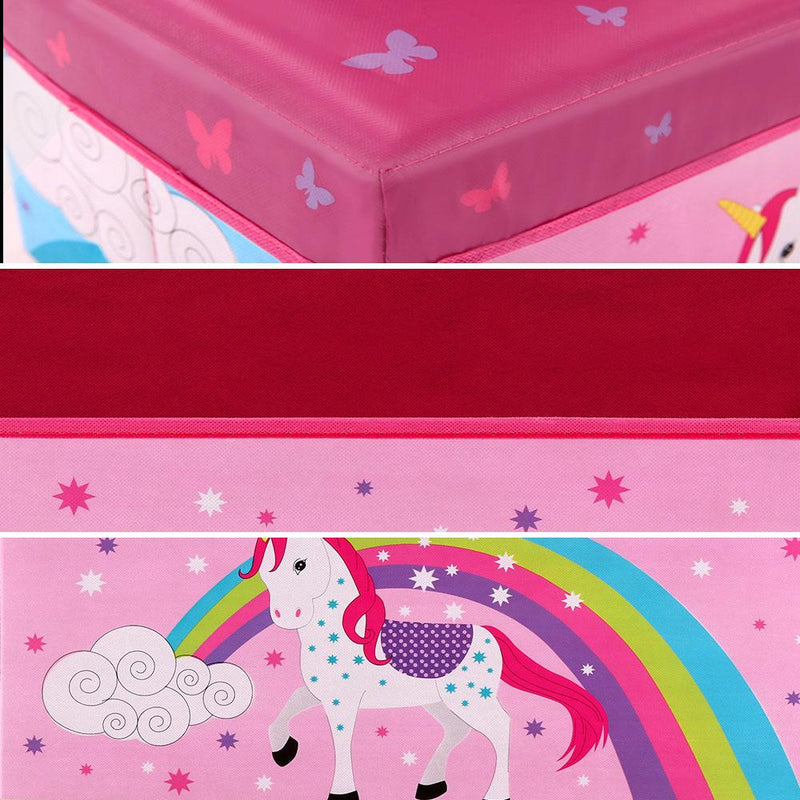 Carnival Toy Box Pink: Kids Foldable Storage Toy Box In Pink With Unicorn