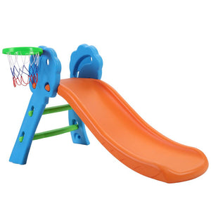 Kids Slide with Basketball Hoop Outdoor Indoor Playground - Orange