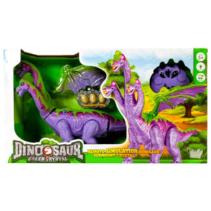 Purple Crystal RC Walking Dinosaur with Lights & Sounds