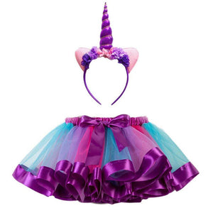 Unicorn Tutu with Headband in Purple - Medium