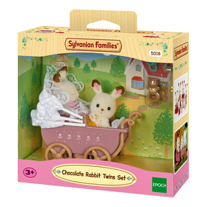 Sylvanian Families Chocolate Rabbit Twins Pram Set