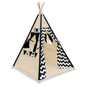 Kids Teepee Play Tent with Storage Bag in Natural and Black