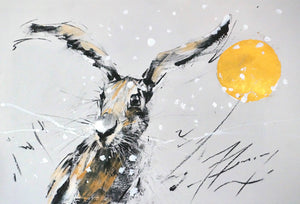Winter Hare with golden moon - Limited edition print - Martin Memory Art Gallery