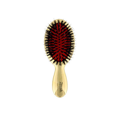 Gold Mini Hairbrush with Boar/Nylon Bristles-Brushes-Cherry Birch