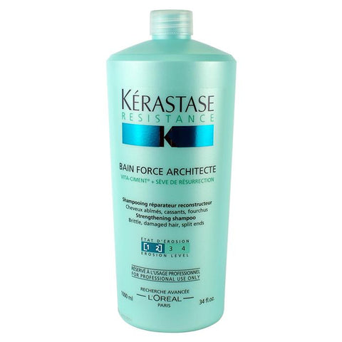Kerastase Resistance Bain Force Architecte Strengthening Shampoo (For Brittle, Damaged Hair, Split Ends) 1000ml/34oz-Haircare-Cherry Birch