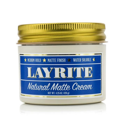 Layrite Natural Matte Cream (Medium Hold, Matte Finish, Water Soluble) 120g/4.25oz-Haircare-Cherry Birch