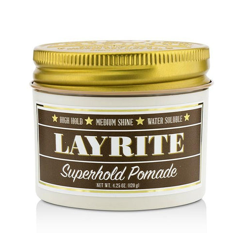 Layrite Superhold Pomade (High Hold, Medium Shine, Water Soluble) 120g/4.25oz-Haircare-Cherry Birch