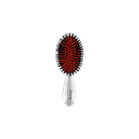 Silver Mini Hairbrush with Boar/Nylon Bristles-Brushes-Cherry Birch