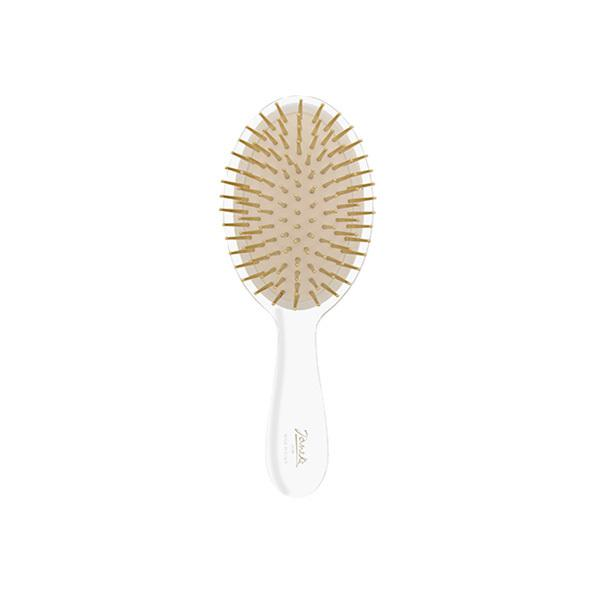 Small Clear Hairbrush with Gold Bristle-Brushes-Cherry Birch