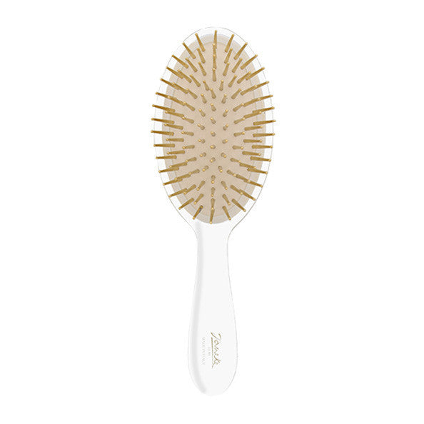 Transparent Classic Hairbrush with Gold Bristles-Brushes-Cherry Birch
