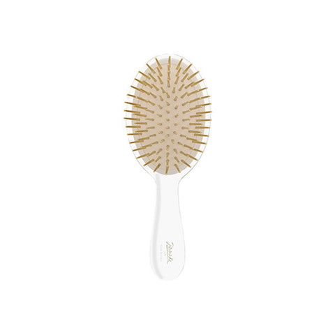 Transparent Small Hairbrush with Gold Bristles-Brushes-Cherry Birch