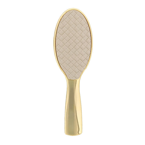 White Quilted Gold Classic Hairbrush-Brushes-Cherry Birch