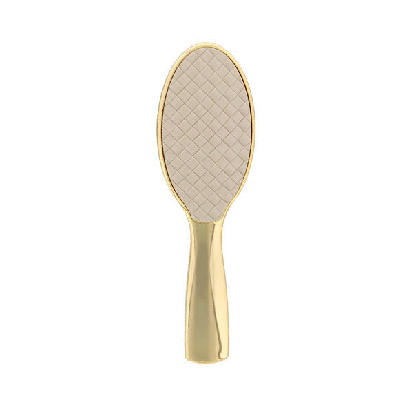 White Quilted Gold Small Hairbrush-Brushes-Cherry Birch
