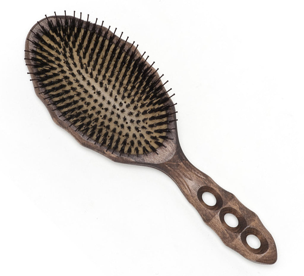 YS Park Soft Cushion Tortoise Hairbrush - Boar/Nylon-Brushes-Cherry Birch