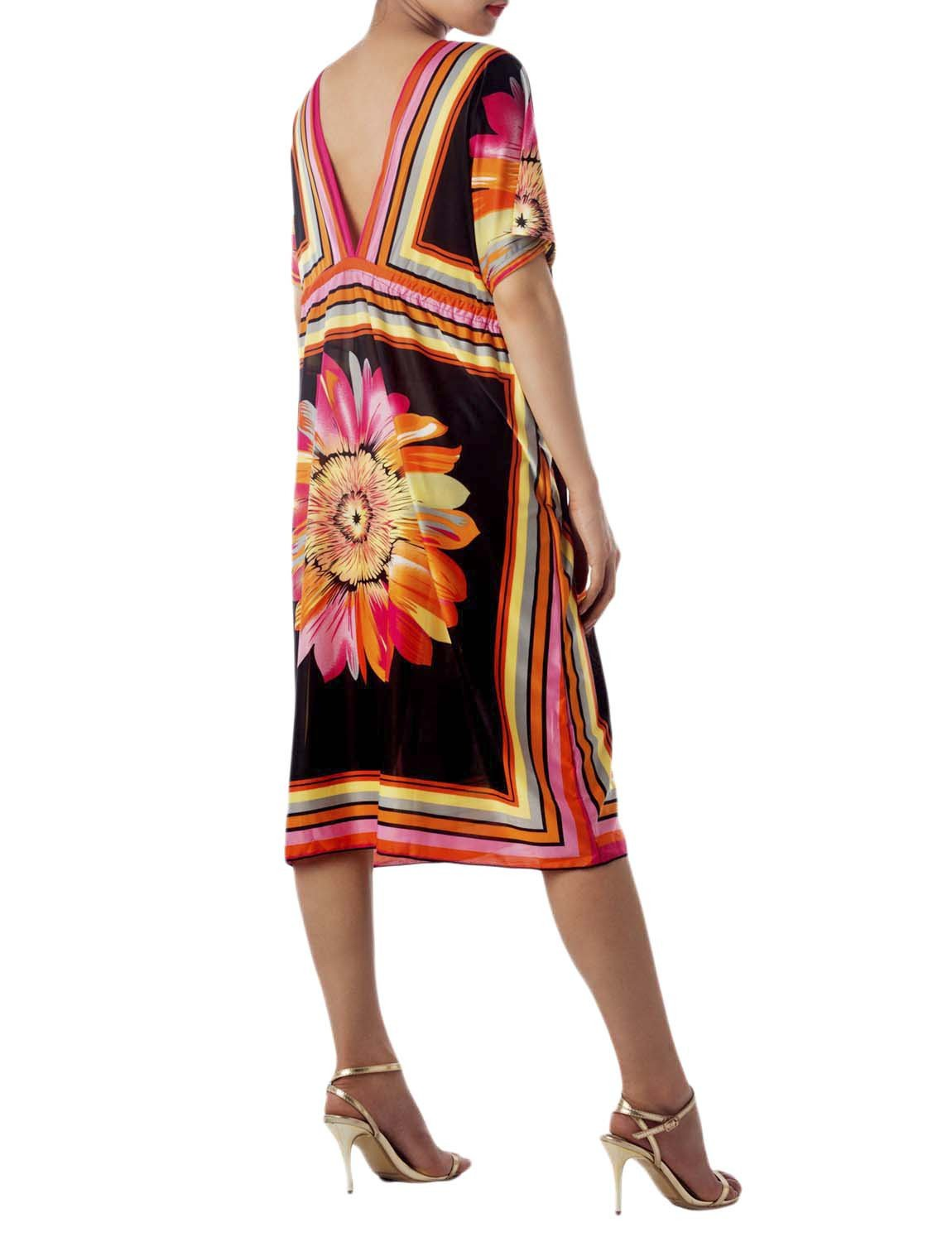 Women's Floral Bat Sleeve Casual Dress Loose Relaxed Sack Midi Tunic Dress, Size: XL, Orange