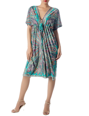 iB-iP Women's Plunge Deep V-Neck Floral Sack Loose Relaxed Mid-Thigh Tunic Dress