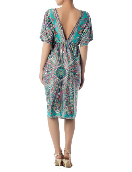 Women's Plunge Deep V-Neck Floral Sack Loose Relaxed Mid-Thigh Tunic Dress, Size: 2XL, Sea Green