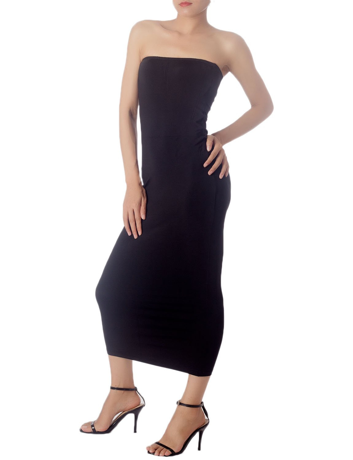Women's Casual Sleeveless Stretch Tube Pencil Bodycon Long Strapless Dress, Size: XL, Black