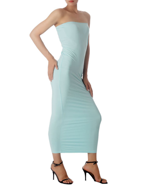 Women's Casual Sleeveless Stretch Tube Pencil Bodycon Long Strapless Dress, Size: XL, Light Blue