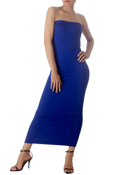 Women's Casual Sleeveless Stretch Tube Pencil Bodycon Long Strapless Dress, Size: XL, Royal