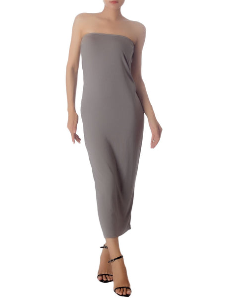 Women's Casual Sleeveless Stretch Tube Pencil Bodycon Long Strapless Dress, Size: XL, Grey