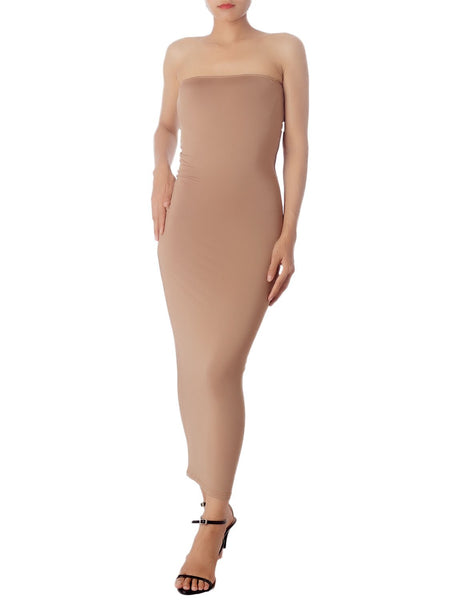 Women's Casual Sleeveless Stretch Tube Pencil Bodycon Long Strapless Dress, Size: XL, Sand