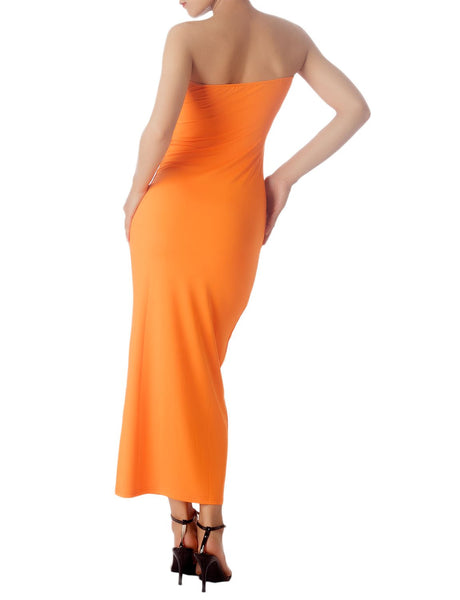 Women's Casual Sleeveless Stretch Tube Pencil Bodycon Long Strapless Dress, Size: XL, Light Brick