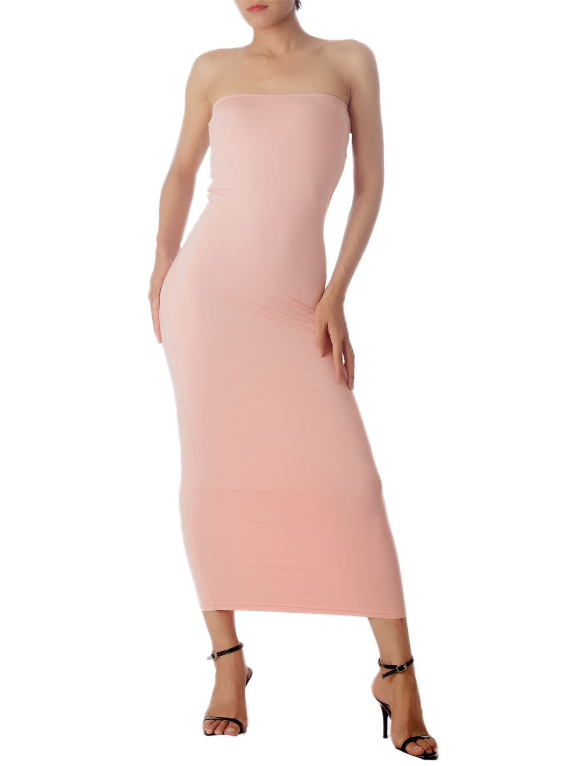 Women's Casual Sleeveless Stretch Tube Pencil Bodycon Long Strapless Dress, Size: XL, Light Pink