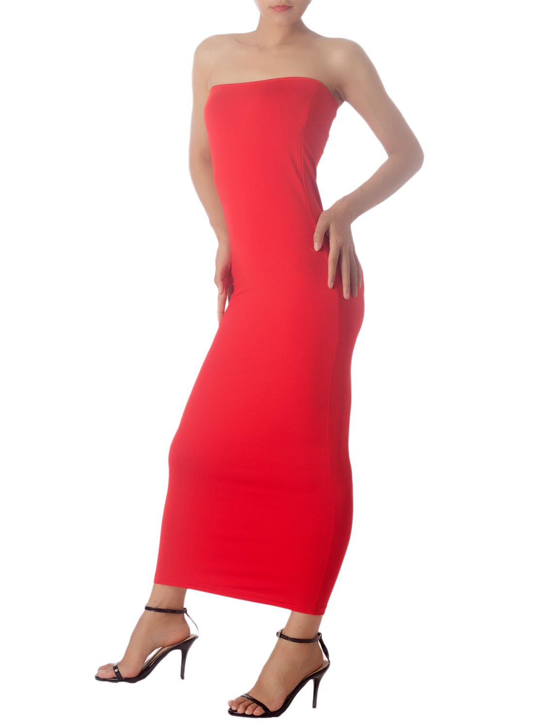 Women's Casual Sleeveless Stretch Tube Pencil Bodycon Long Strapless Dress, Size: XL, Red