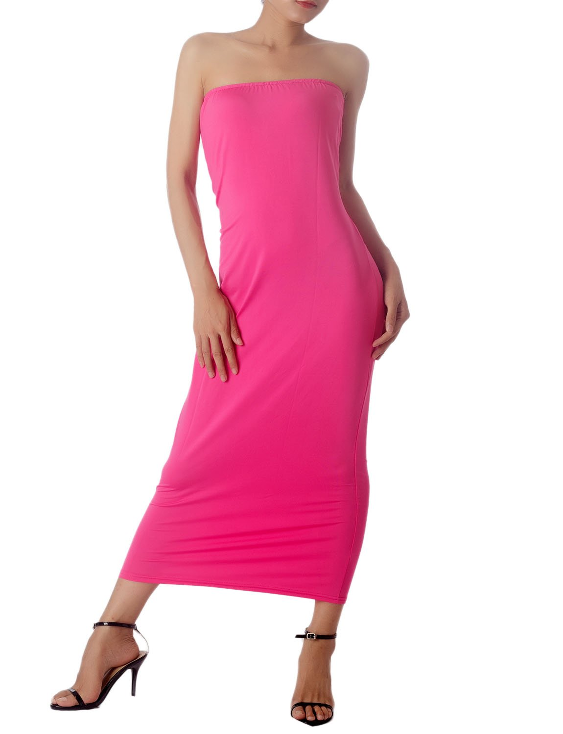 Women's Casual Sleeveless Stretch Tube Pencil Bodycon Long Strapless Dress, Size: XL, Hot Pink