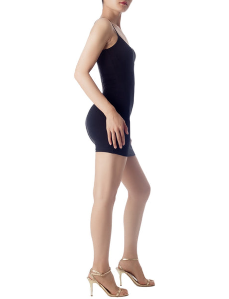 Women's Cotton Under Dress Short Slip Slim Control Mid-Thigh Bodycon Dress, Size: 2XL, Black