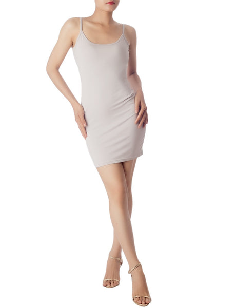 Women's Cotton Under Dress Short Slip Slim Control Mid-Thigh Bodycon Dress, Size: 2XL, Light Grey