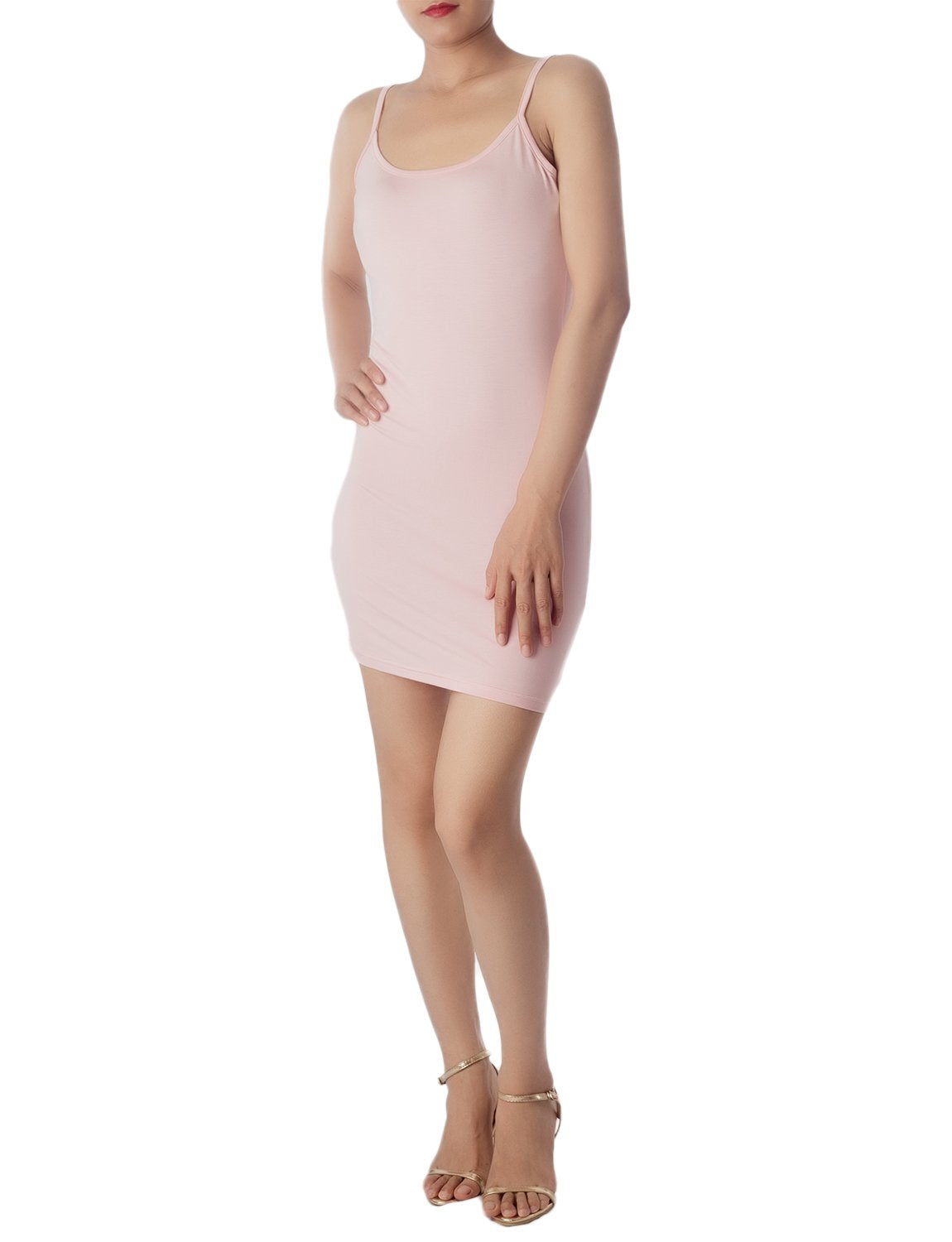Women's Cotton Under Dress Short Slip Slim Control Mid-Thigh Bodycon Dress, Size: 2XL, Pink