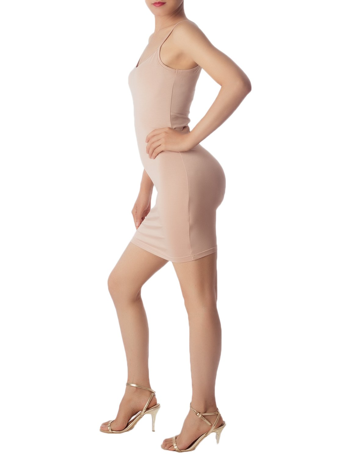 Women's Cotton Under Dress Short Slip Slim Control Mid-Thigh Bodycon Dress, Size: 2XL, Beige