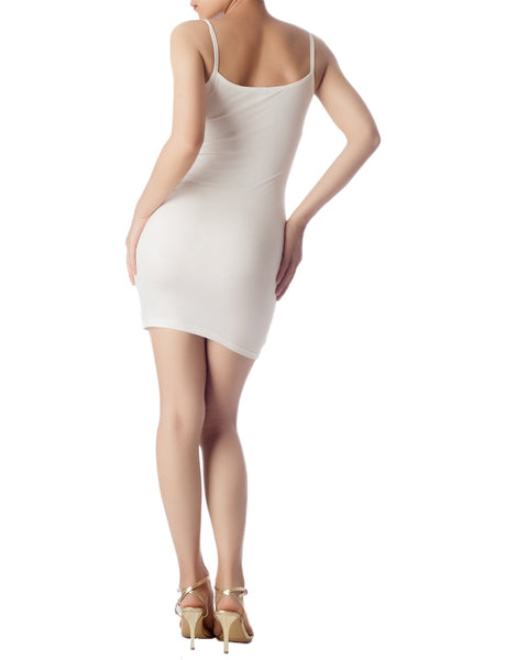 Women's Cotton Under Dress Short Slip Slim Control Mid-Thigh Bodycon Dress, Size: 2XL, White