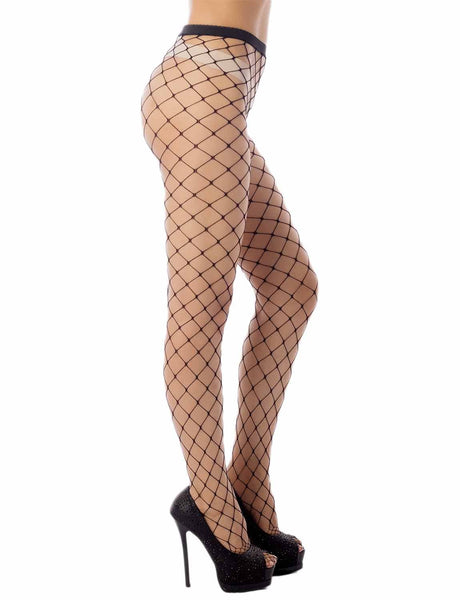 Women's Stretch Fishinet Tights For Ripped Jeans Mid Waist Sexy Stockings, Size: One Size, M1 Black