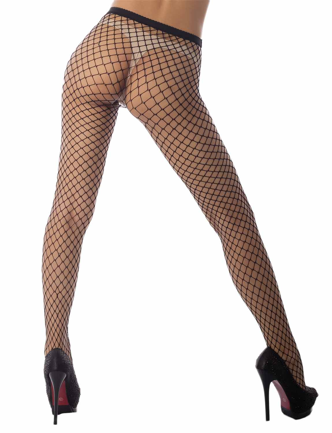 Women's Stretch Fishinet Tights For Ripped Jeans Mid Waist Sexy Stockings, Size: One Size, M2 Black