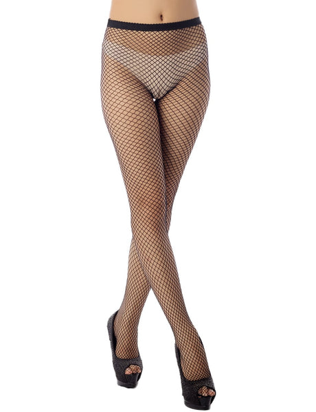 Women's Stretch Fishinet Tights For Ripped Jeans Mid Waist Sexy Stockings, Size: One Size, M3 Black
