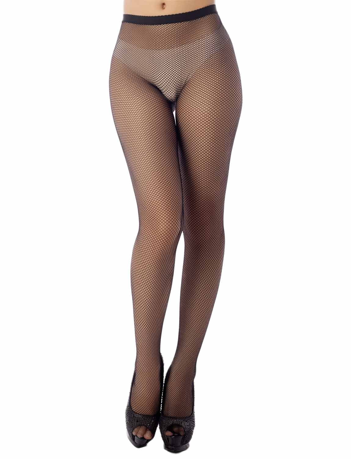 Women's Stretch Fishinet Tights For Ripped Jeans Mid Waist Sexy Stockings, Size: One Size, M4 Black