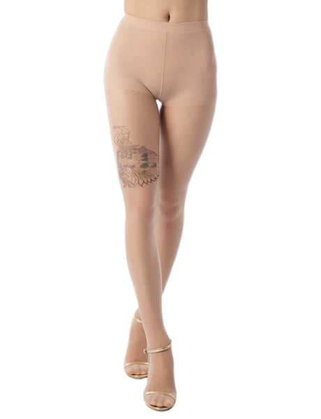 Women's Stocking Peacock Tattoo Style 5 DEN Ultra Sheer Tights Pantyhose, Size: One Size, Beige