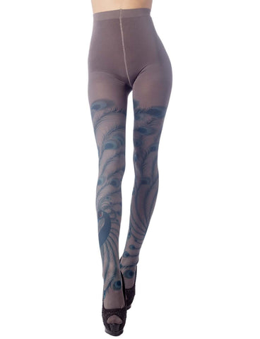 iB-iP Women's Stocking Peacock Tail Print Charming Sheers Seam Tights Pantyhose
