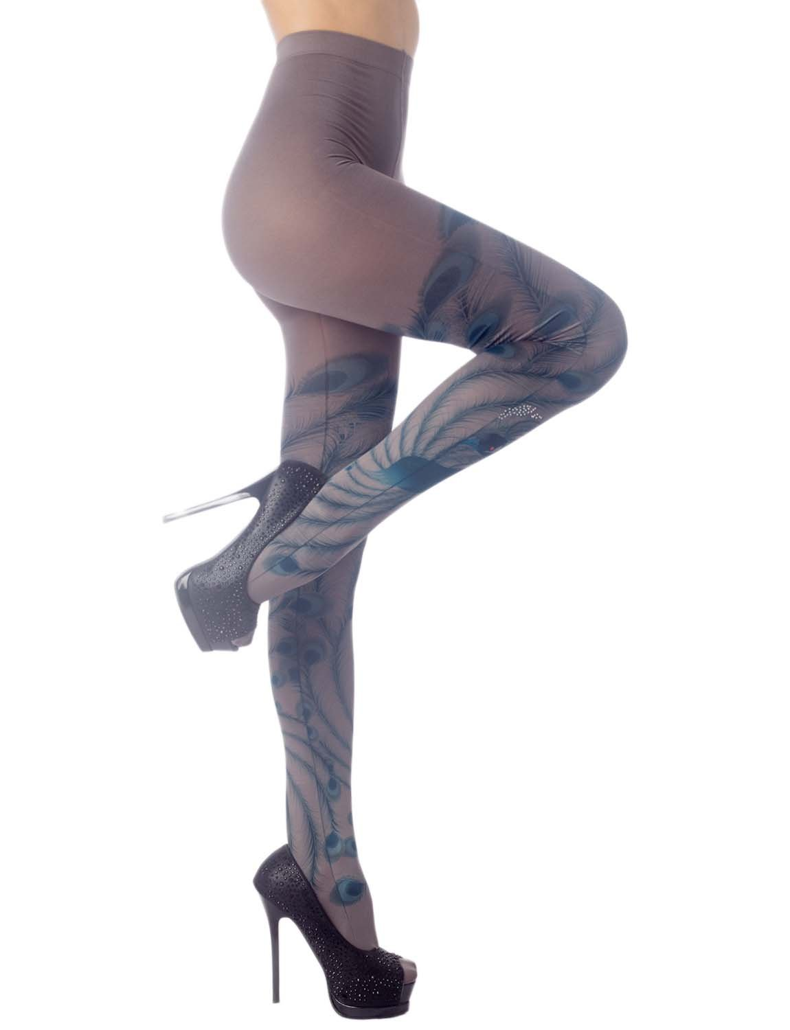 Women's Stocking Peacock Tail Print Charming Sheers Seam Tights Pantyhose, Size: One Size, Turquoise