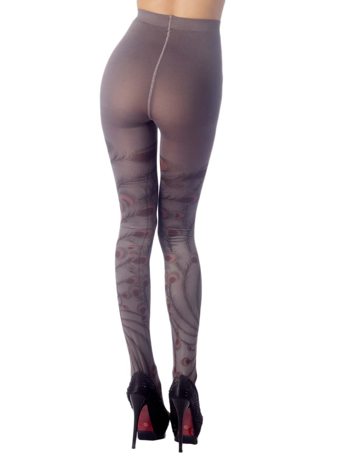 Women's Stocking Peacock Tail Print Charming Sheers Seam Tights Pantyhose, Size: One Size, Warm Grey