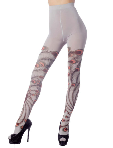 Women's Stocking Peacock Tail Print Charming Sheers Seam Tights Pantyhose, Size: One Size, Light Gre