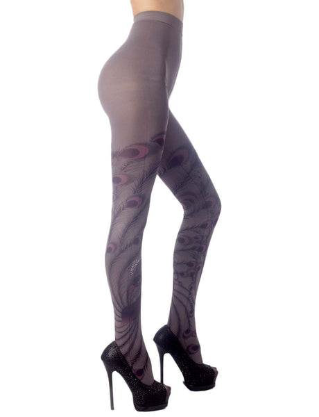 Women's Stocking Peacock Tail Print Charming Sheers Seam Tights Pantyhose, Size: One Size, Purple &
